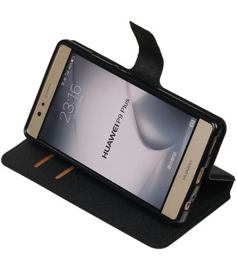 Zwart Hoesje voor Huawei P9 Plus TPU wallet case booktype HM Book