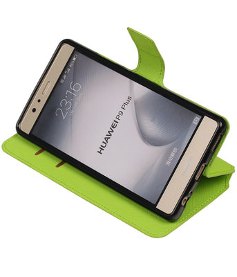 Groen Huawei P9 Plus TPU wallet case booktype hoesje HM Book