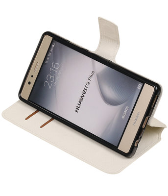 Wit Hoesje voor Huawei P9 Plus TPU wallet case booktype HM Book