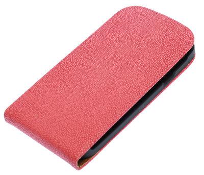 Roze Ribbel flip case cover voor Hoesje voor HTC Desire 300