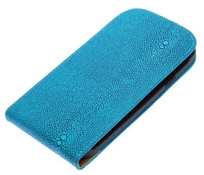 Blauw Ribbel flip case cover voor Hoesje voor HTC Desire 300