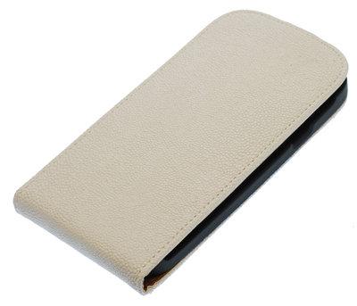 Wit Ribbel flip case cover voor Hoesje voor HTC One