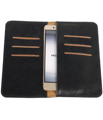 Zwart Pull-up Large Pu portemonnee wallet voor Huawei
