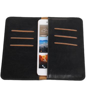 Zwart Pull-up Large Pu portemonnee wallet voor HTC
