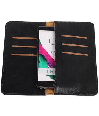 Zwart Pull-up Large Pu portemonnee wallet voor LG
