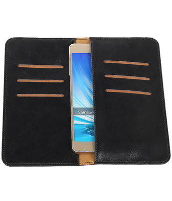 Zwart Pull-up Large Pu portemonnee wallet voor Samsung