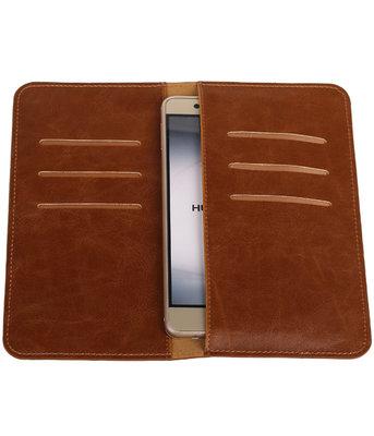 Bruin Pull-up Large Pu portemonnee wallet voor Huawei