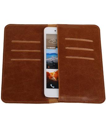 Bruin Pull-up Large Pu portemonnee wallet voor HTC