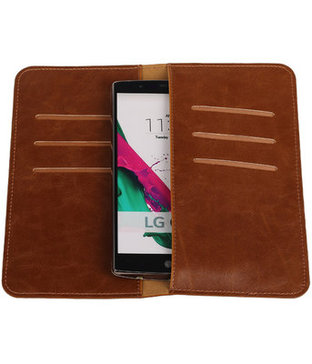 Bruin Pull-up Large Pu portemonnee wallet voor LG
