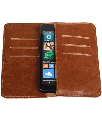Bruin Pull-up Large Pu portemonnee wallet voor Microsoft