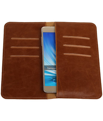 Bruin Pull-up Large Pu portemonnee wallet voor Samsung