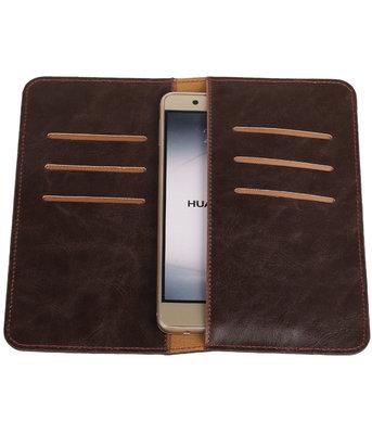 Mocca Pull-up Large Pu portemonnee wallet voor Huawei