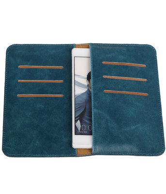 Blauw Pull-up Medium Pu portemonnee wallet voor Huawei