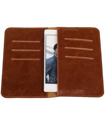 Bruin Pull-up Medium Pu portemonnee wallet voor Huawei