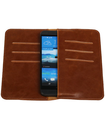Bruin Pull-up Medium Pu portemonnee wallet voor HTC