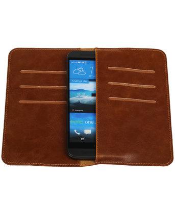 Bruin Pull-up Medium Pu portemonnee wallet voor HTC