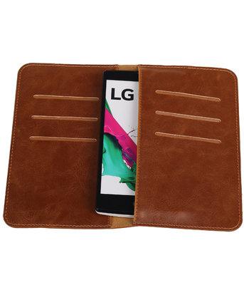 Bruin Pull-up Medium Pu portemonnee wallet voor LG
