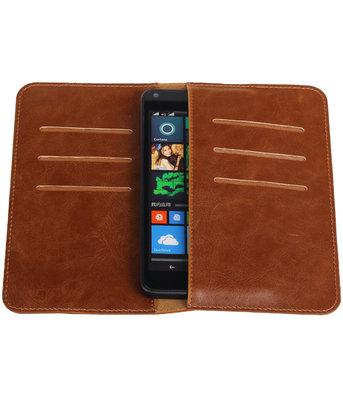 Bruin Pull-up Medium Pu portemonnee wallet voor Microsoft