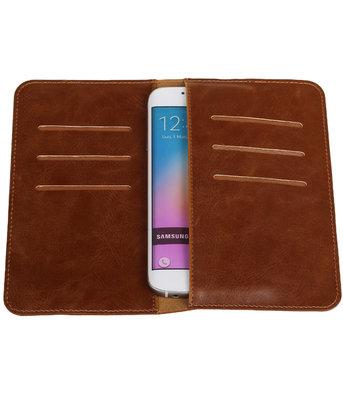 Bruin Pull-up Medium Pu portemonnee wallet voor Samsung