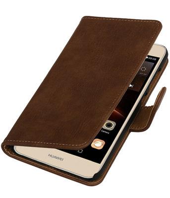 Bruin Hout booktype wallet cover voor Hoesje voor Huawei Y6 II Compact