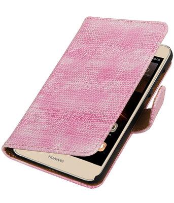 Roze Mini Slang booktype wallet cover voor Hoesje voor Huawei Y6 II Compact