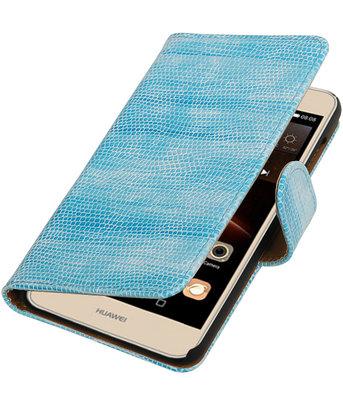 Turquoise Mini Slang booktype wallet cover hoesje voor Huawei Y6 II Compact