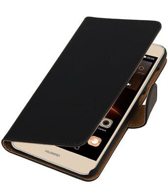 Zwart Effen booktype wallet cover hoesje voor Huawei Y6 II Compact