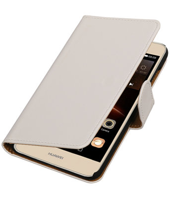 Wit Effen booktype wallet cover hoesje voor Huawei Y6 II Compact