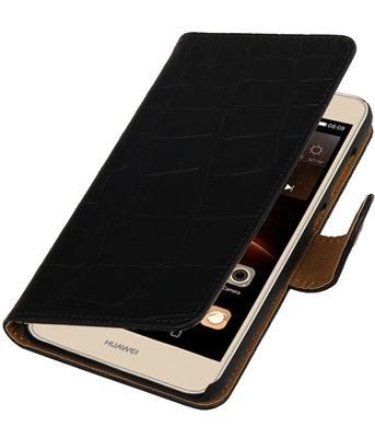 Zwart Krokodil booktype wallet cover hoesje voor Huawei Y6 II Compact