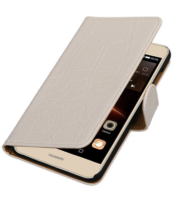 Wit Krokodil booktype wallet cover voor Hoesje voor Huawei Y6 II Compact