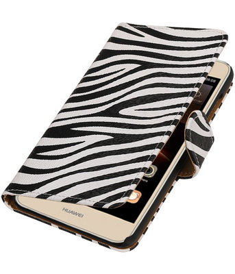 Zebra booktype wallet cover voor Hoesje voor Huawei Y6 II Compact
