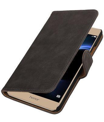 Grijs Hout booktype wallet cover voor Hoesje voor Huawei Honor V8