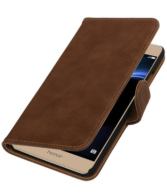 Bruin Hout booktype wallet cover hoesje voor Huawei Honor V8