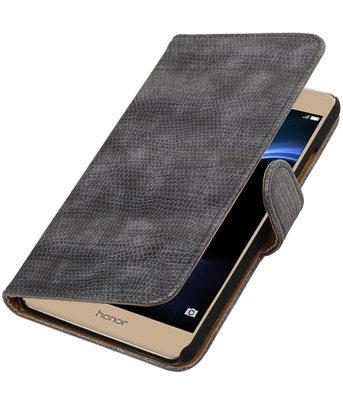 Grijs Mini Slang booktype wallet cover voor Hoesje voor Huawei Honor V8