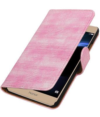 Roze Mini Slang booktype wallet cover voor Hoesje voor Huawei Honor V8