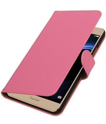 Roze Effen booktype wallet cover voor Hoesje voor Huawei Honor V8