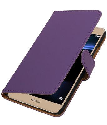 Paars Effen booktype wallet cover voor Hoesje voor Huawei Honor V8