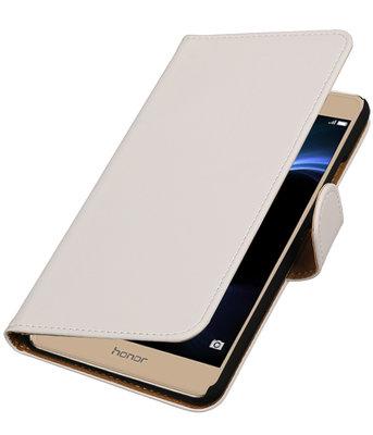 Wit Effen booktype wallet cover voor Hoesje voor Huawei Honor V8