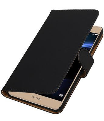 Zwart Effen booktype wallet cover voor Hoesje voor Huawei Honor V8