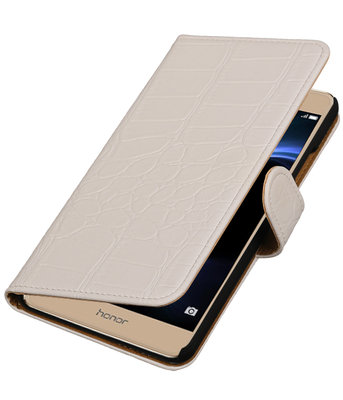 Wit Krokodil booktype wallet cover voor Hoesje voor Huawei Honor V8