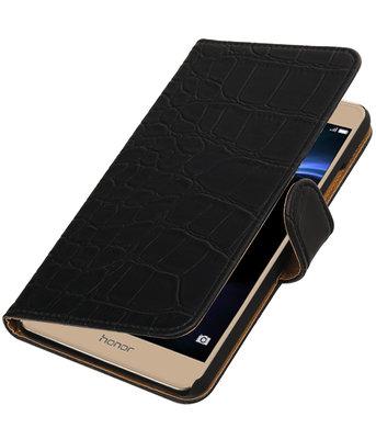 Zwart Krokodil booktype wallet cover voor Hoesje voor Huawei Honor V8
