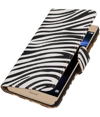 Zebra booktype wallet cover voor Hoesje voor Huawei Honor V8