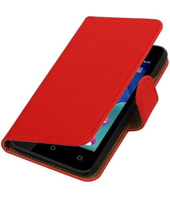 Rood Effen booktype wallet cover voor Hoesje voor Wiko Sunset 2