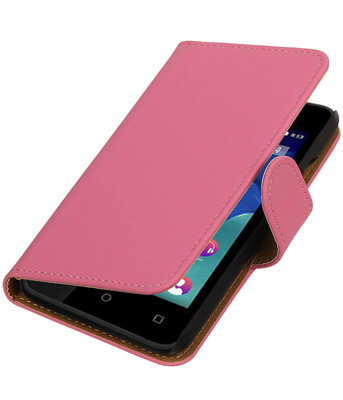 Roze Effen booktype wallet cover voor Hoesje voor Wiko Sunset 2