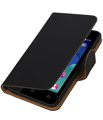 Zwart Effen booktype wallet cover voor Hoesje voor Wiko Sunset 2