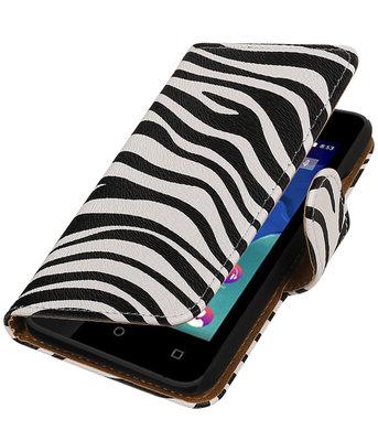 Zebra booktype wallet cover voor Hoesje voor Wiko Sunset 2
