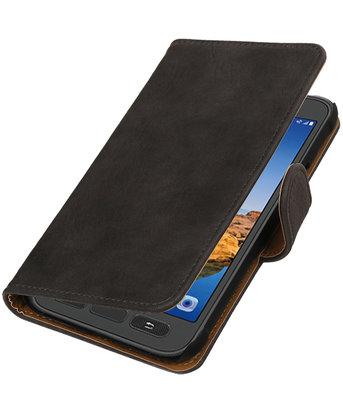 Grijs Hout booktype wallet cover voor Hoesje voor Samsung Galaxy S7 Active