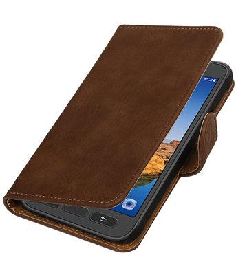 Bruin Hout booktype wallet cover voor Hoesje voor Samsung Galaxy S7 Active