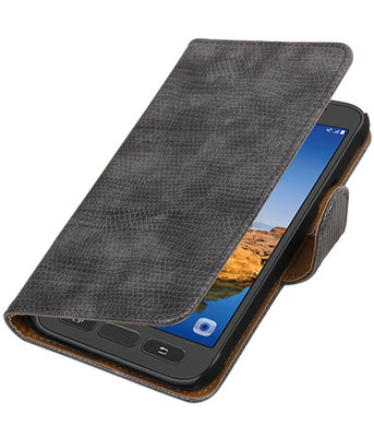 Grijs Mini Slang booktype wallet cover voor Hoesje voor Samsung Galaxy S7 Active