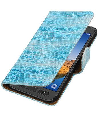 Turquoise Mini Slang booktype wallet cover voor Hoesje voor Samsung Galaxy S7 Active